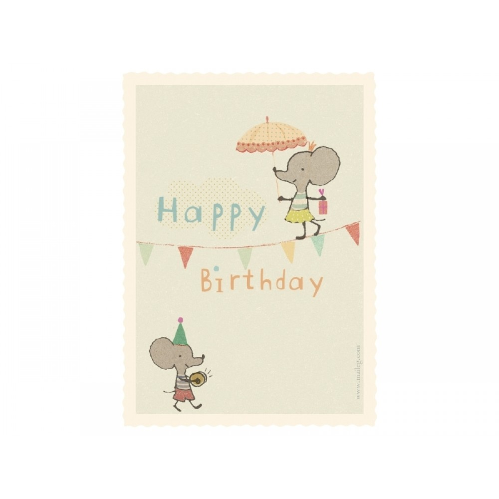 Til-og-fra fødselsdagskort, Linedansermus Maileg-31