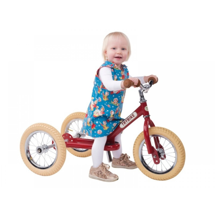 Trybike 3-hjulet løbecykel, Rød i retrolook-31