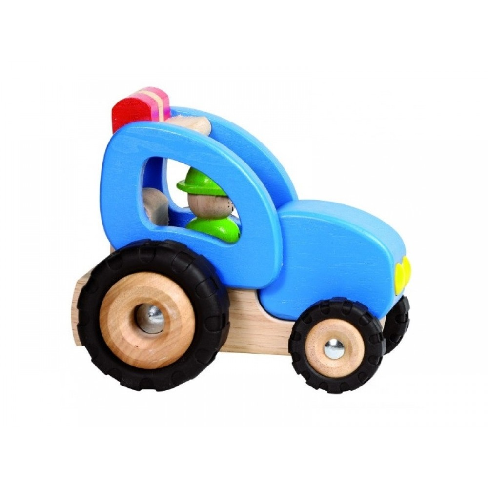 Goki Traktor i træ Blå-31