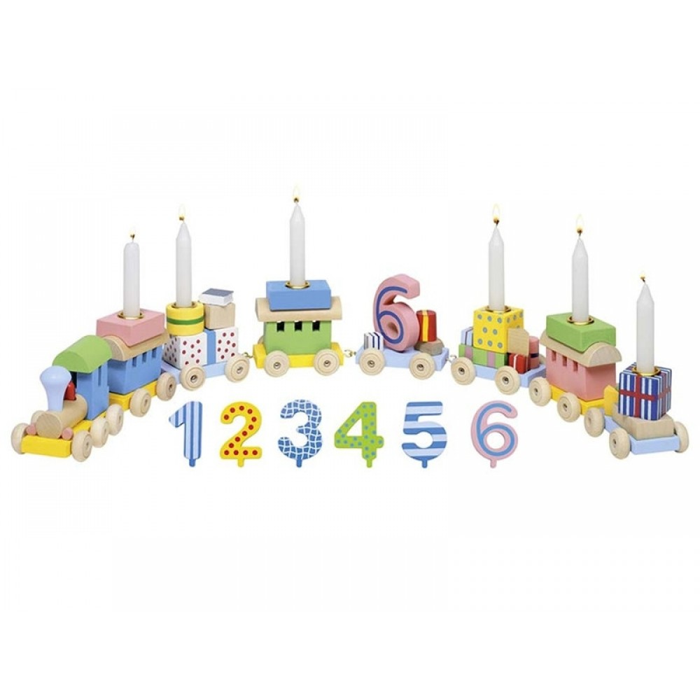 Goki Fødselsdagstog i træ med tallene 1-6-31