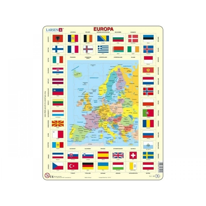 Larsen Puslespil Europas flag og Europakort med 70 brikker fra 7 år-31