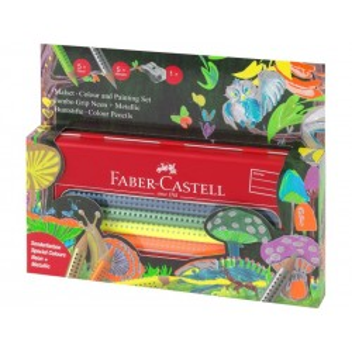 Faber-Castell Jumbo Grip Farveblyanter Neon + Matalic-20