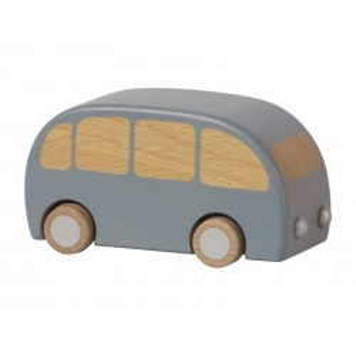 Maileg legetøjsbil Bus i træ, Pull-back funktion Blå-20