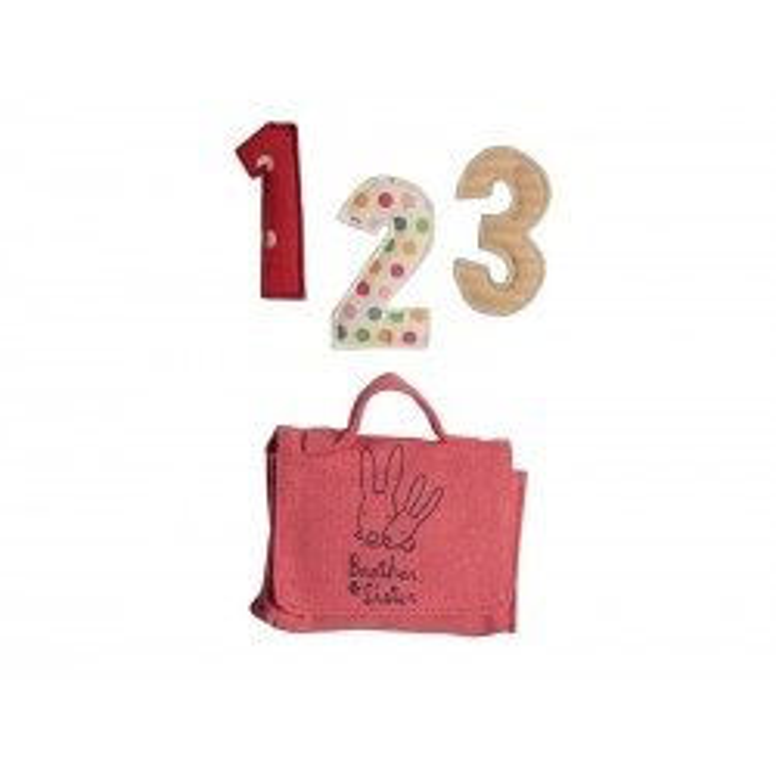 Maileg Skoletaske i pink med bogstaver og blyant til medium kaniner*-20