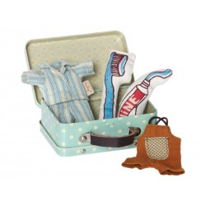 Kuffert til mikro drengemus og kaniner inkl. 2 sæt tøj fra Maileg-21