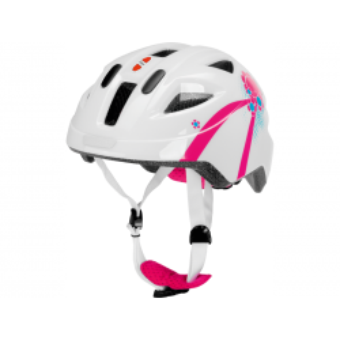 Cykelhjelm i hvid/pink, S PUKY-20