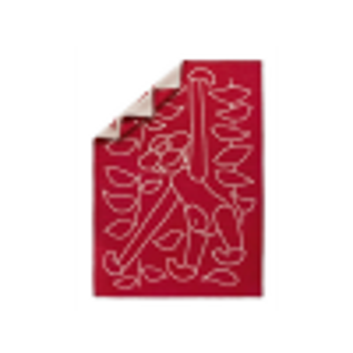 Plaid i rød 100% lammeuld fra Kay Bojesen-01