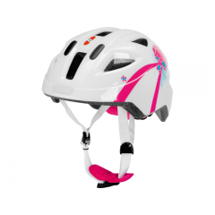 Cykelhjelm i hvid/pink, S - PUKY